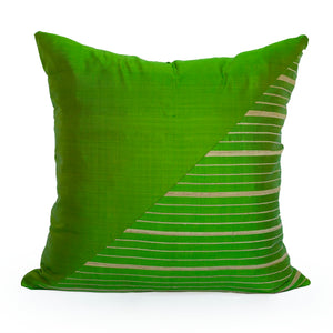 Lotus Flower Silk Pillow - Green Triangle - JG Switzer