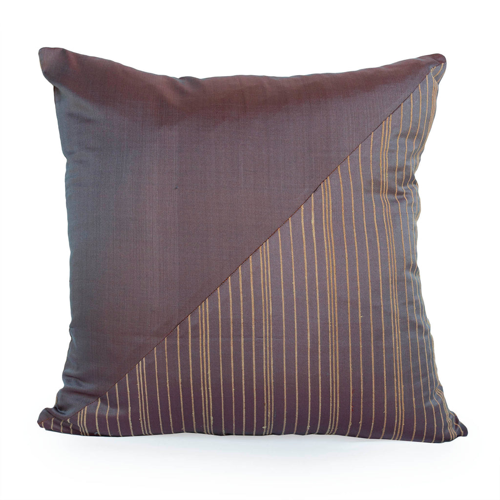 Lotus Flower Silk Pillow - Marron Brown Triangle - JG Switzer