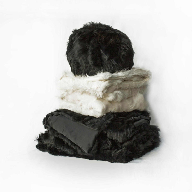 Pearl Grey Toscana Sheep Fur Throw Lined with Cashmere Blend