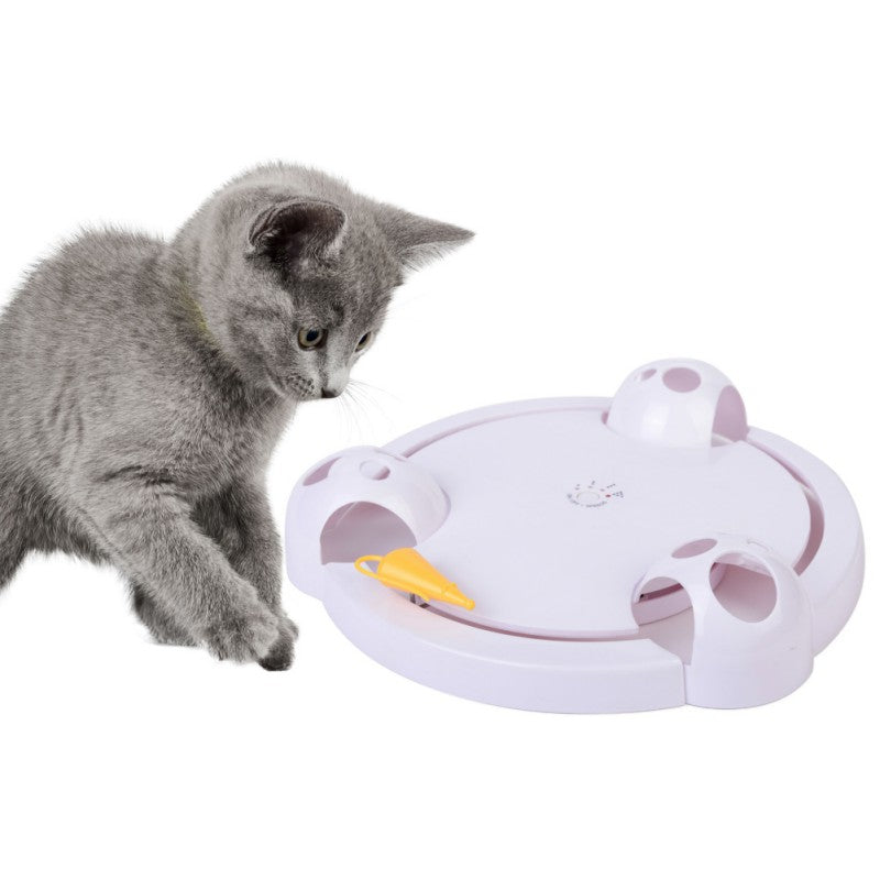 Funny Cat Interactive Pet Cat Toys  Automatic Rotating Cat Play Teaser Plate Mice Catch Toy Electric - Eshopping4life
