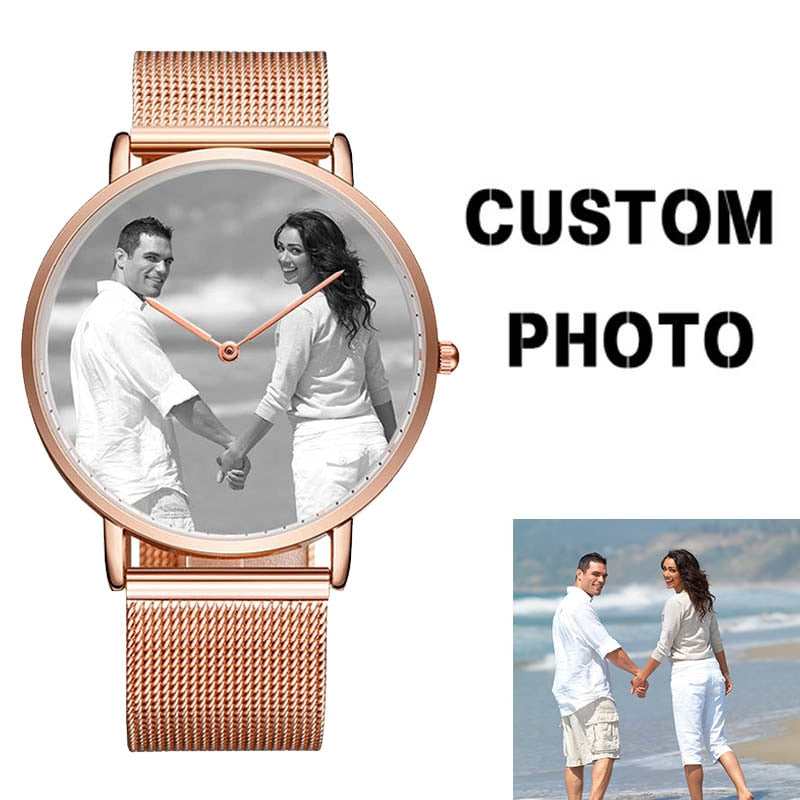 Forever Love Custom Watch With Picture in Watch Face + Engrave - Eshopping4life