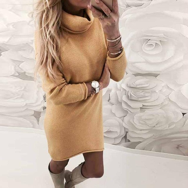 Vintage Turtle Neck Dress - Eshopping4life