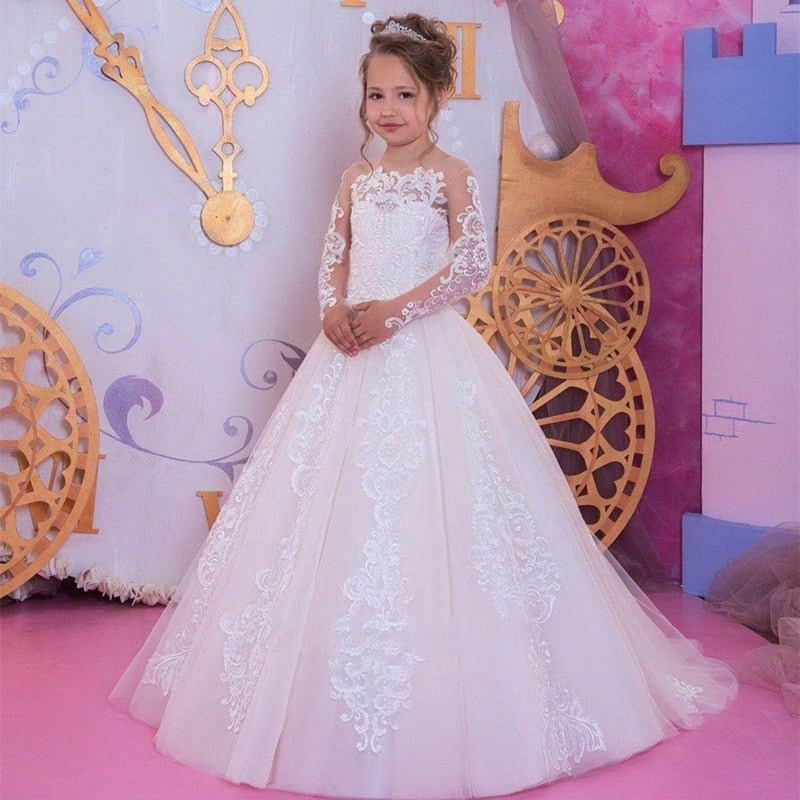 Flower Girl Dresses First Communion Dresses for Girls Beaded Applique Kids Evening Gowns