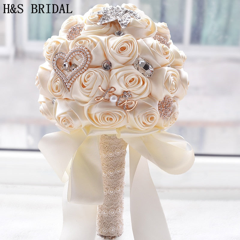 8 Colors Gorgeous Wedding Flowers Bridal Bouquets Artificial Wedding Bouquet Crystal Sparkle With Pearls 2020 buque de noiva