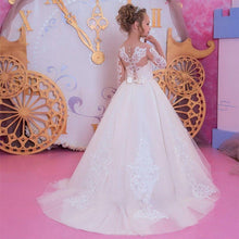 Load image into Gallery viewer, Flower Girl Dresses First Communion Dresses for Girls Beaded Applique Kids Evening Gowns
