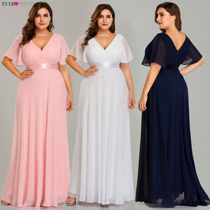 Evening Dresses Ever Pretty EP09890 Elegant V-Neck Ruffles Chiffon Formal Evening Gown Party Dress Robe De Soiree 2020
