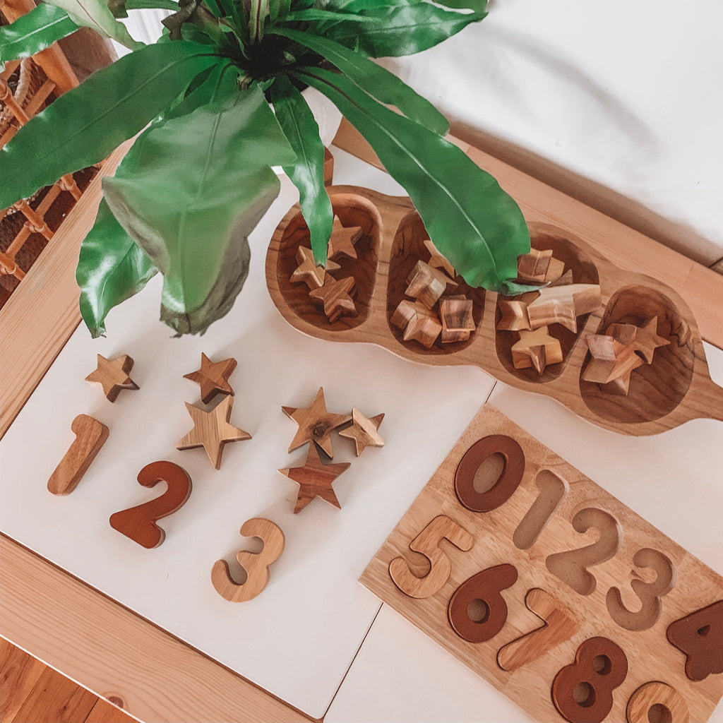 Natural Wood Number Puzzle