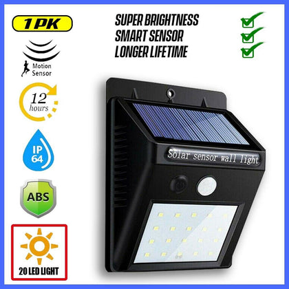 Waterproof 20 LED Solar Power Motion Sensor Wall Light - christmasgiftbuy