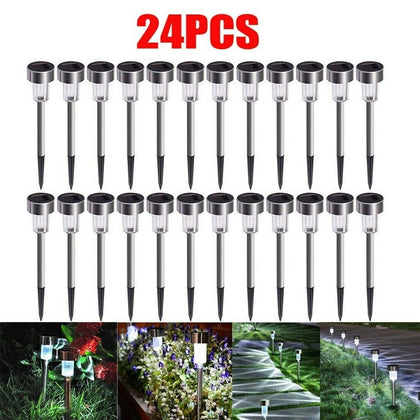24 PCS Garden Outdoor Stainless Steel LED Solar Lights Lamp - christmasgiftbuy