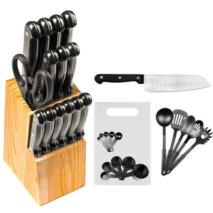 29 Pc Stainless Steel Kitchen Knives or Knife Set w/ Block & Kitchen Utensils - christmasgiftbuy