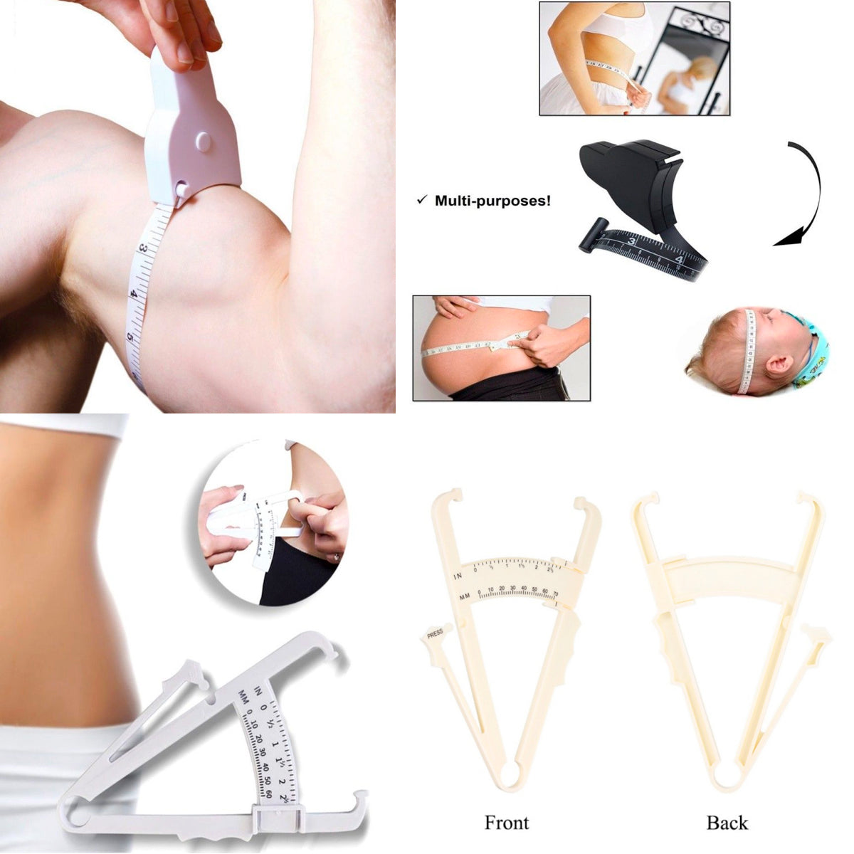 2-Piece Set: Body Fat Caliper & Measuring Tape