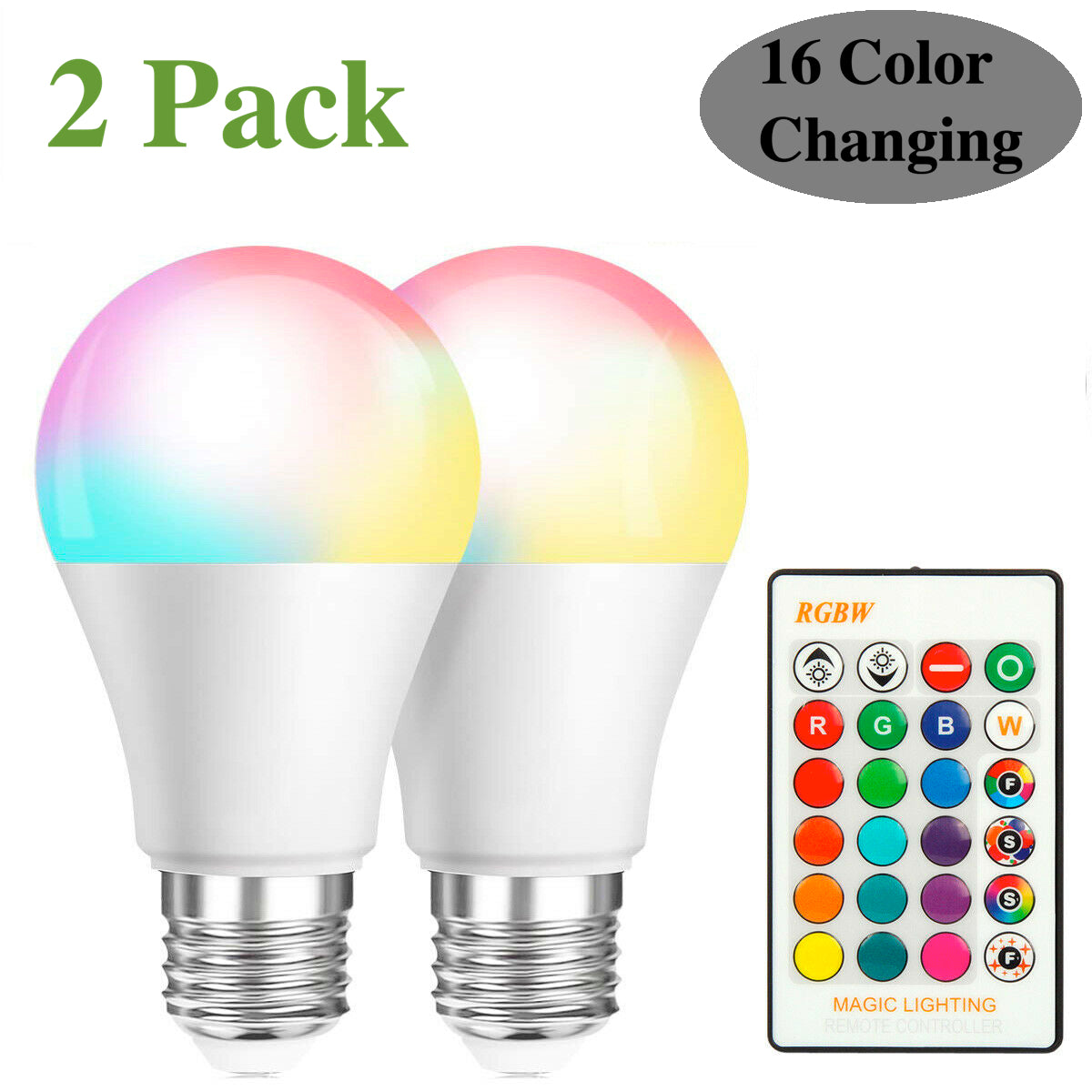 2-Pack Retro Led Color Changing Light Bulbs with Remote