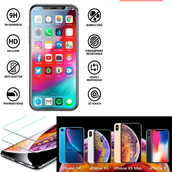 2-Pack: 9H Tempered Glass Screen Protectors for iPhone® (iPhoneX/XS, XR, XS Max)