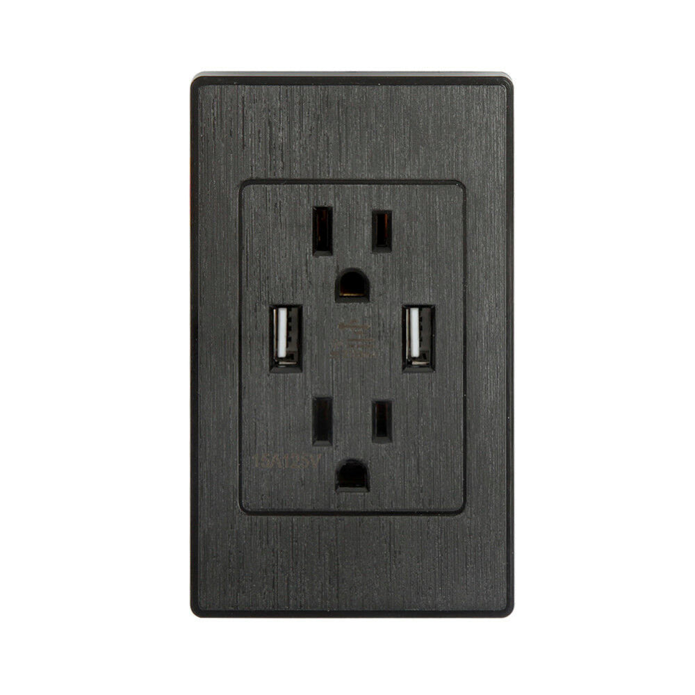 Dual USB Port Wall Socket Charger AC Power Receptacle Outlet Plate Panel