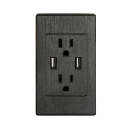 Dual USB Port Wall Socket Charger AC Power Receptacle Outlet Plate Panel - christmasgiftbuy
