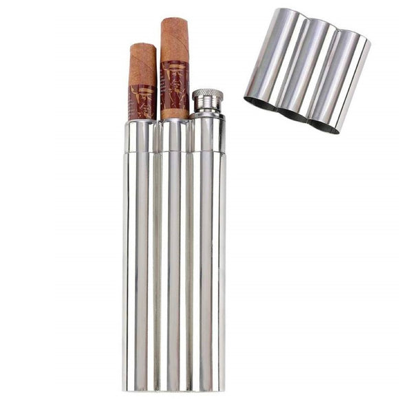 2oz Stainless Steel Flask with Dual Cigar Tubes