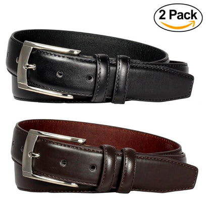 E.M.P Men's Black and Brown Leather Dress Belts (Set of 2) - christmasgiftbuy