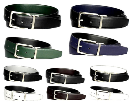 2-Pack Men's Genuine Leather Reversible Dress Belts - Assorted Colors