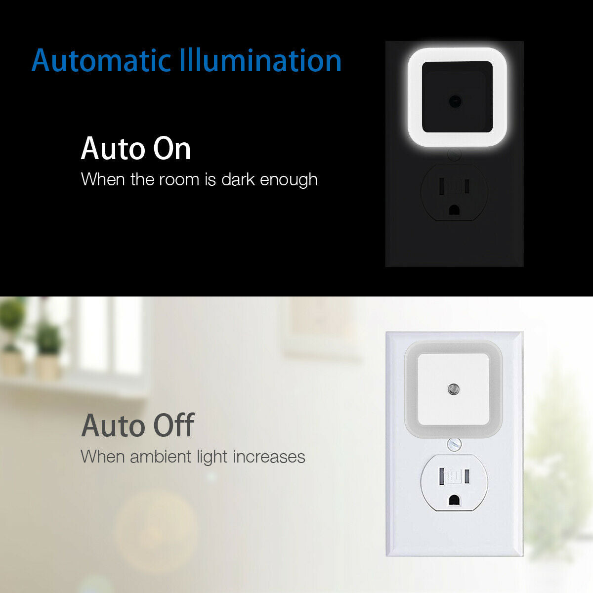 6PCS Plug-in LED Night Light Auto Sensor Control Lamp