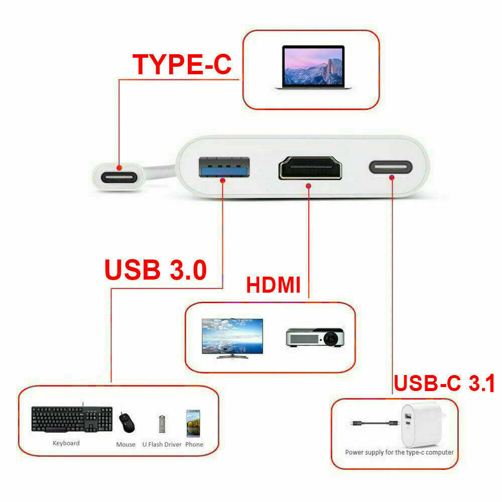 Type C USB 3.1 to USB-C 3.0 4K HDMI Adapter Cable