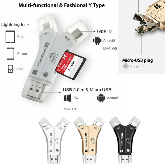 4 in 1 i Flash Drive USB Micro SD&TF Card Reader Adapter for iPhone, iPad, Macbook, Android