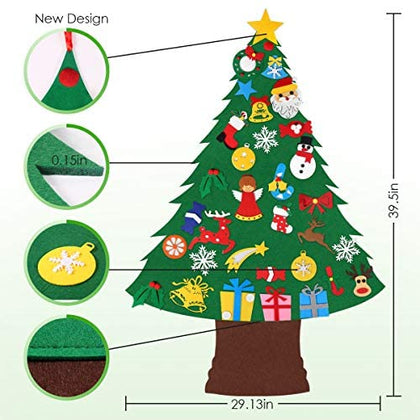 Felt Christmas Tree with 33pcs Ornaments, Christmas Gifts for Kids