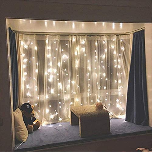 Twinkle Star 300 LED Window Curtain String Light For Christmas, Party Warm White & Multi Color