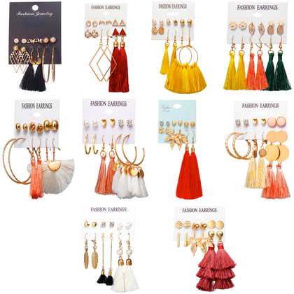 6 Pairs Colorful Earrings with Tassel Layered Ball Dangle Hoop Stud Jacket Unisex