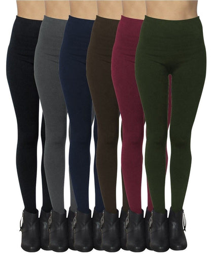 6 Pack Seamless Fleece Lined Leggings for Women