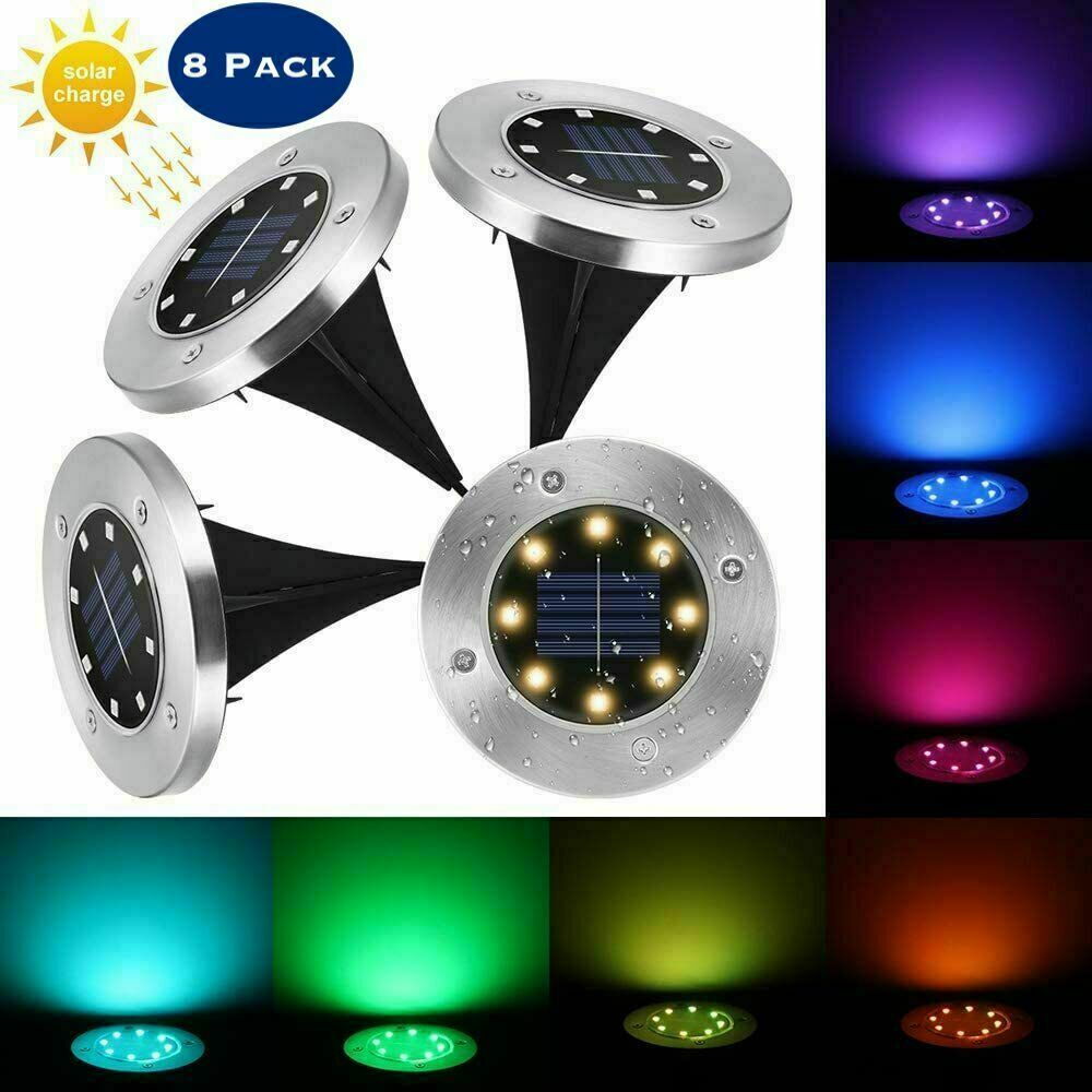 8x8LED Solar Pathway LED Lights Garden Waterproof Lamp
