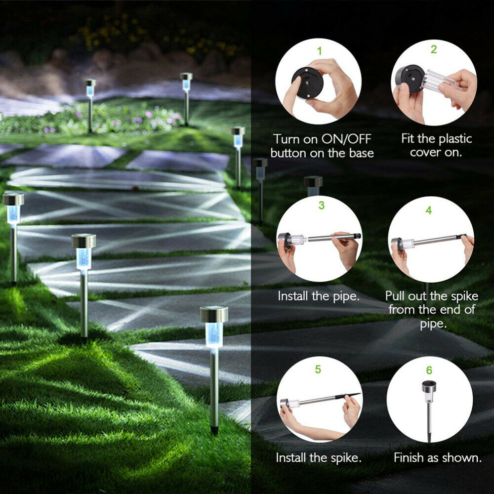 24 PCS Garden Outdoor Stainless Steel LED Solar Lights Lamp