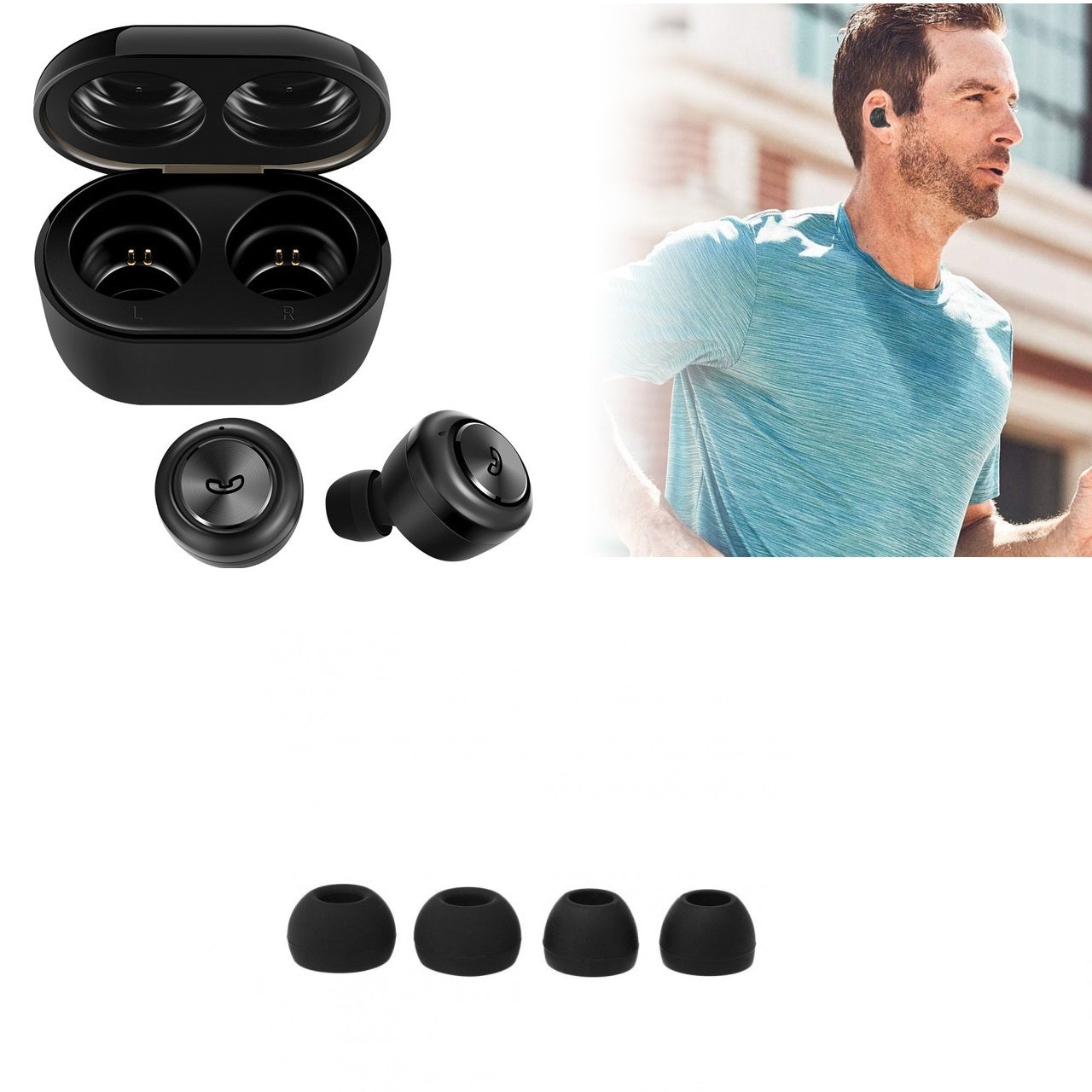 Wireless Bluetooth Stereo Binaural Earphones Mini In-ear Earbuds