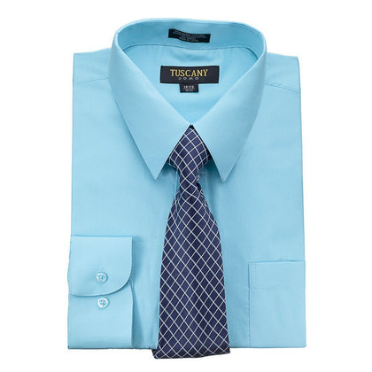 Men's Aqua Dress Shirt With Mystery Tie Set Regular-Fit Solid Long Sleeve -All Sizes - christmasgiftbuy
