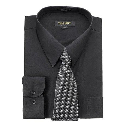 Men's Black Dress Shirt With Mystery Tie Set Regular-Fit Solid Long Sleeve -All Sizes - christmasgiftbuy