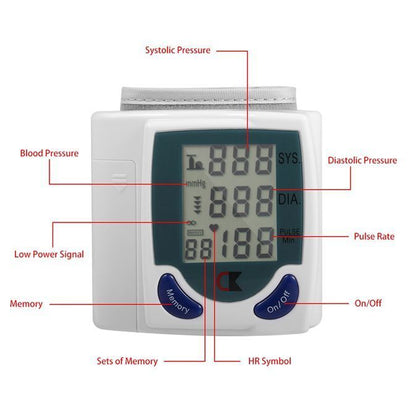 Digital LCD Wrist Blood Pressure Monitor Heart Beat Rate Pulse Meter Measure US
