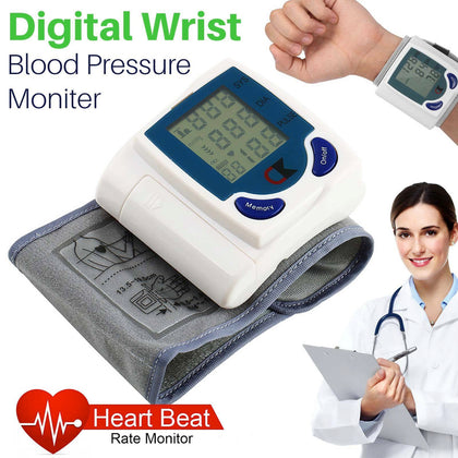 Digital LCD Wrist Blood Pressure Monitor Heart Beat Rate Pulse Meter Measure US - christmasgiftbuy