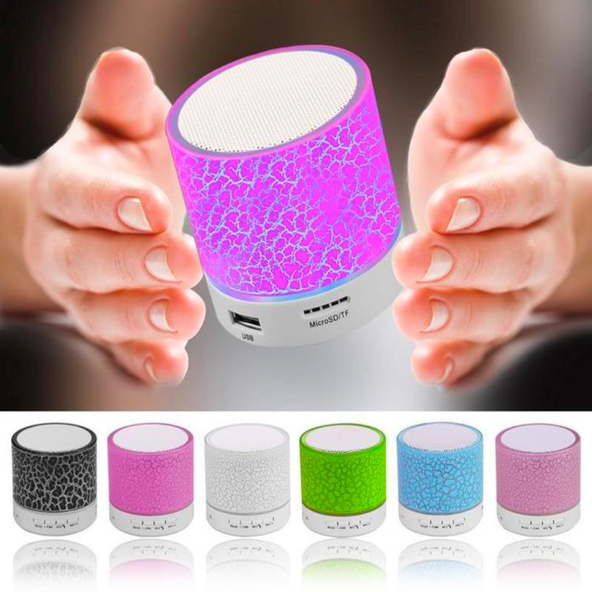 Mini LED Crackle Design Wireless Bluetooth v2.1 Speaker with USB & SD Card Support - Assorted Colors