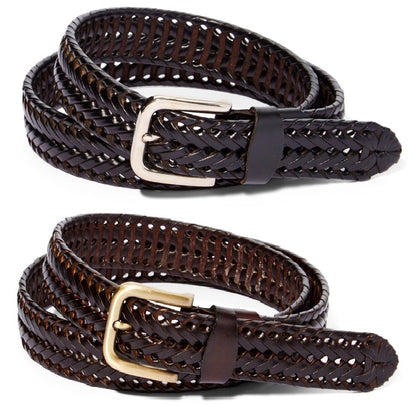 Men's Braided Genuine Leather Dress Belt-Brown & Black - christmasgiftbuy