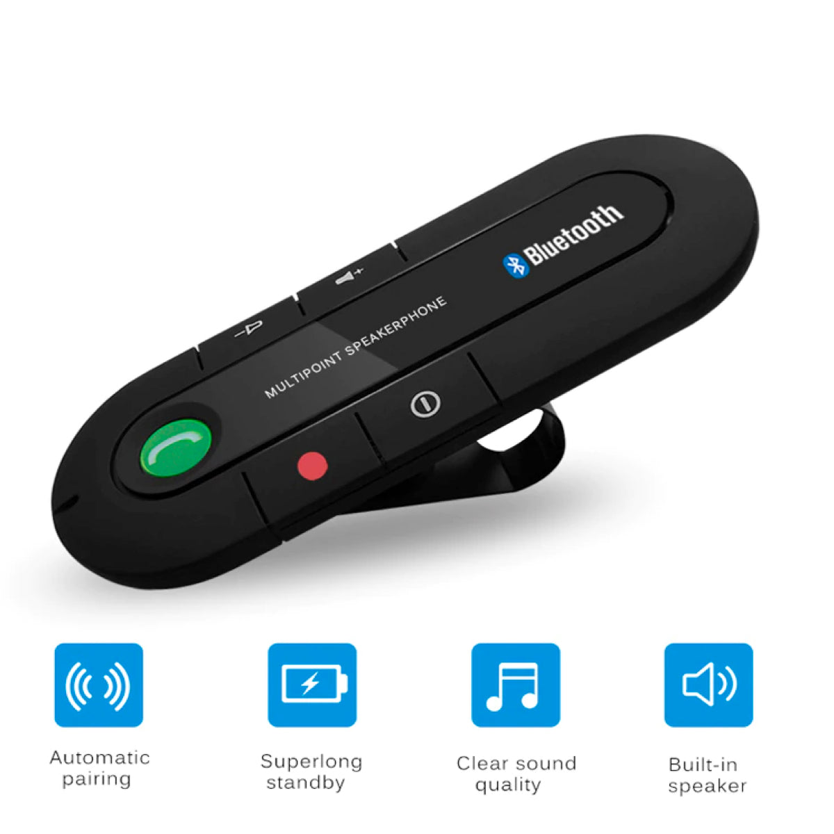 AE Magnetic Multipoint Wireless Bluetooth v4.1 Car Speakerphone