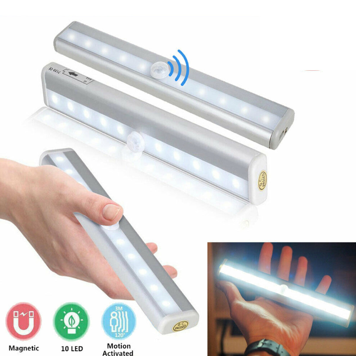 3 Pack: Wireless Peel & Stick LED Bars with Motion & Light Sensor Closet Light