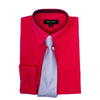 Men's Coral Dress Shirt With Mystery Tie Set Regular-Fit Solid Long Sleeve -All Sizes