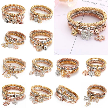 Women's Fashion 3 Row Stretch Bracelet with charms & Gift Pouch - christmasgiftbuy