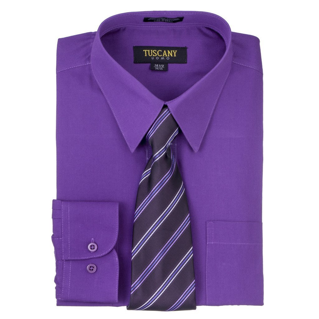 Men's Dark Purple Dress Shirt With Mystery Tie Set Regular-Fit Solid Long Sleeve -All Sizes
