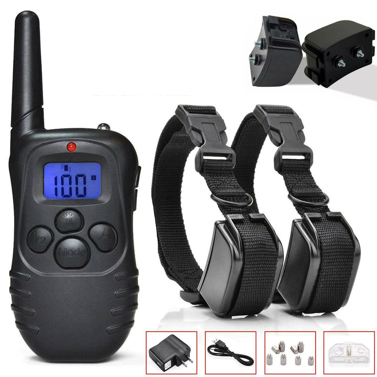 2-Pack Dog Pet Electric Shock Training Collar Waterproof Rechargeable