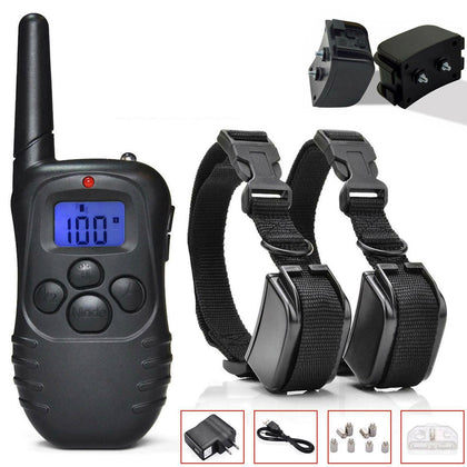 2 Pack Dog Pet Electric Shock Training Collar Waterproof Rechargeable - christmasgiftbuy
