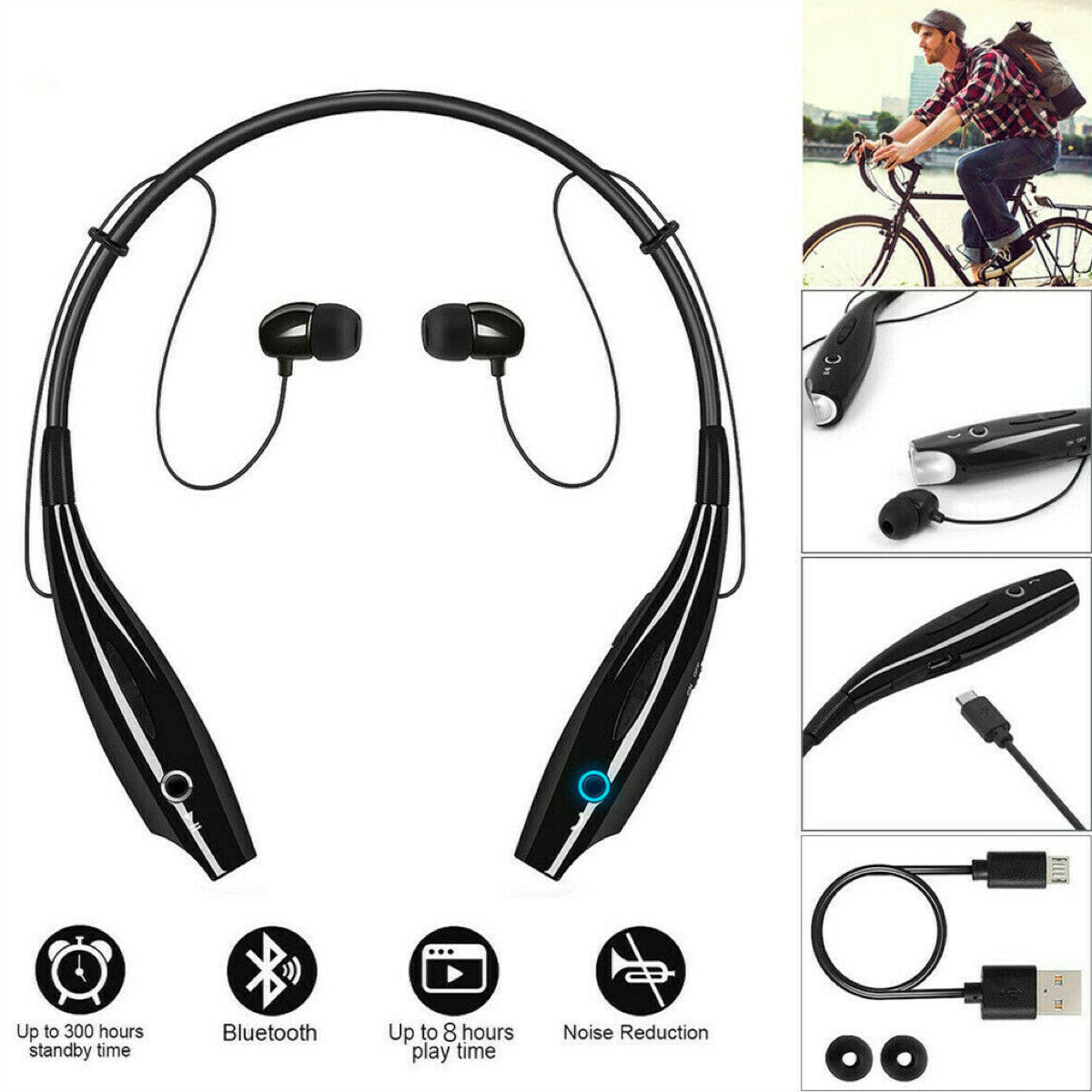 Bluetooth Wireless Headphones Headsets Earphone Neckband Earbuds with Mic