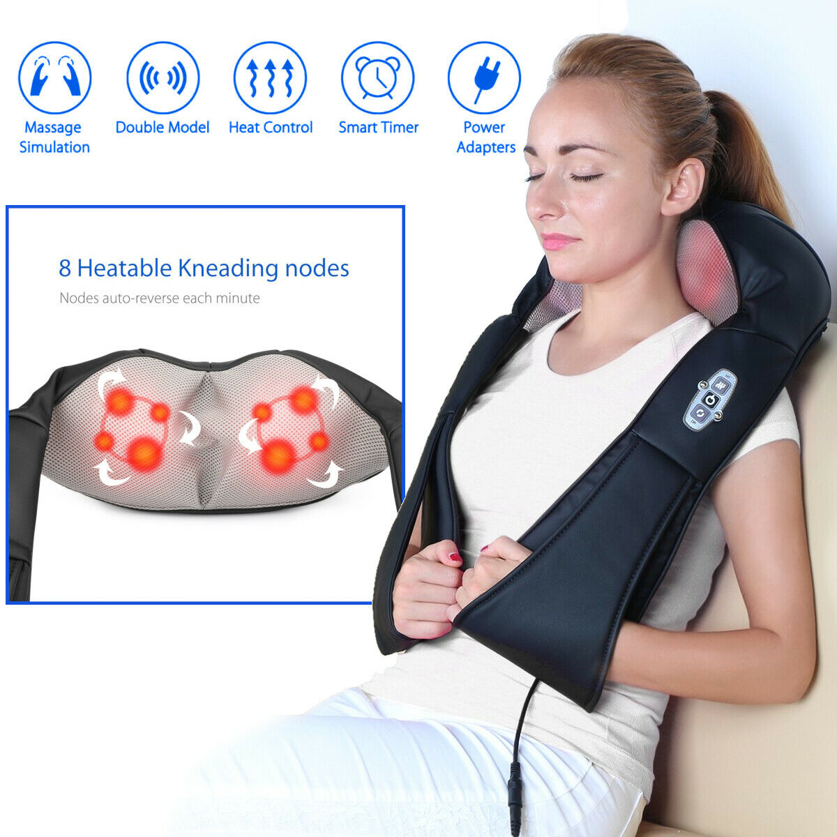 Cordless Shiatsu Back and Neck Shoulder Kneading Massager Rechargeable with Heat Car Adapter