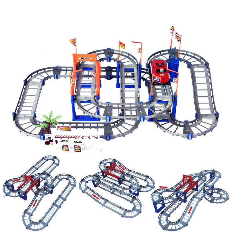 73 Pcs Set Track Speed Cornering DIY Electric Racing Car and Track