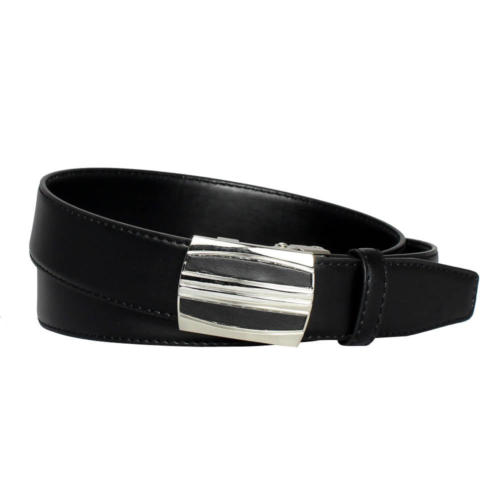 Men's Belt Steel Magnetic Frame Black Leather Ratchet