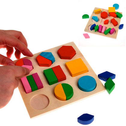 20-Piece Set: Wooden Geometric Block Puzzle - christmasgiftbuy